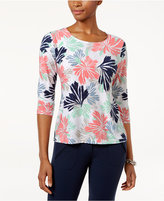 JM Collection Petite Floral-Print Jacquard Top, Only at Macy's