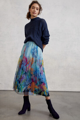 Maeve Chrysanthe Tulle Maxi Skirt By in Blue Size XS