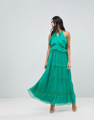 Adelyn Rae Frill Maxi Dress-Green