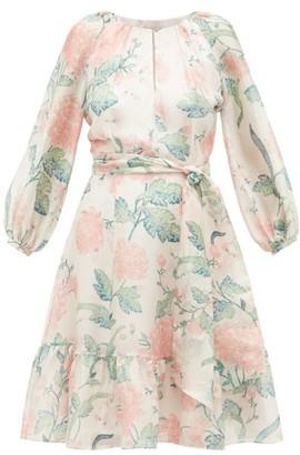 Beulah - Jacinda Floral-print Silk Dress - Womens - Pink White