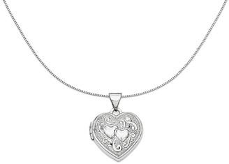 "18"" Textured Scroll Heart Locket Necklace, 14KGold"