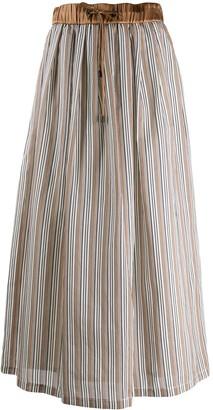 Peserico Striped Pleated Skirt