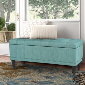 Adeco Tufted Ottoman with Storage- Light Teal Green Rectangular Lift Top