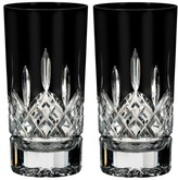 Waterford Lismore Diamond Set Of 2 Black Lead Crystal Highball Glasses