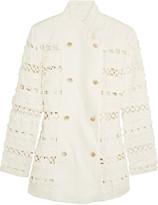 Zimmermann Double-breasted crochet-paneled linen jacket