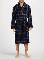 John Lewis Printed Window Check Fleece Robe, Navy