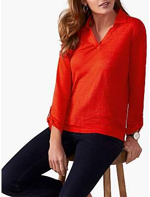Pure Collection Linen Jersey Top, Red Coral