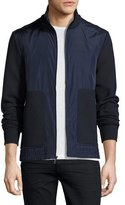 Michael Kors Knit & Tech Zip-Front Track Jacket, Navy