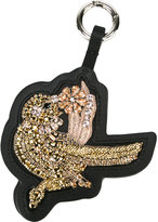 No.21 embellished bird keyring - women - Leather/glass - One Size