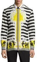 Versace Dancing Marine Silk Casual Button Down Shirt