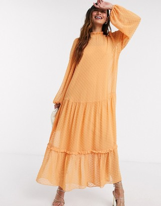 ASOS DESIGN high neck tiered dobby maxi dress in mustard