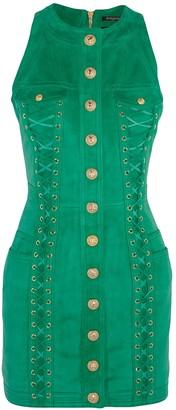 Balmain Green Suede Dress for Women