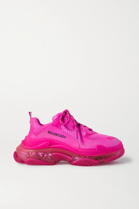 Balenciaga Triple S Clear Sole Logo-embroidered Foam And Mesh Sneakers - Pink