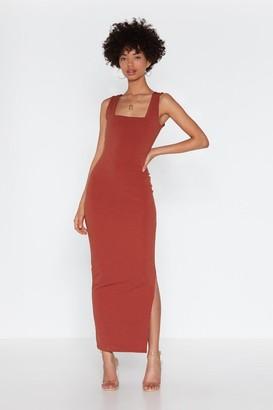 Nasty Gal Womens A Square Find Midi Slit Dress - Cinnamon