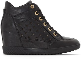 Geox D Carum Leather Wedge Heel Ankle Boots with Lace-Up Fastening