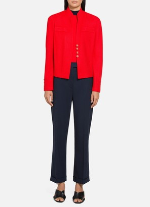 St. John Diagonal Knitted Twill Mandarin Collar Jacket