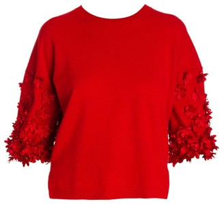 Valentino Wool & Cashmere Floral Applique Knit Puff-Sleeve Top