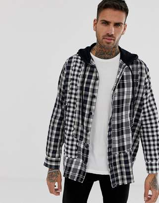Diesel S-Michi oversized shirt with hood in check-Black