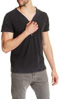 M.I.D.A. Button-Up Short Sleeve V-Neck Tee