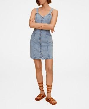 MANGO Women's Button Denim Dress