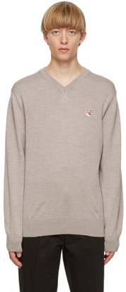 MAISON KITSUNÉ Beige Fox Head V-Neck Sweater