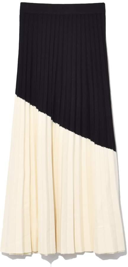 Derek Lam 10 Crosby Colorblocked Pleated Skirt in Vanilla/Black