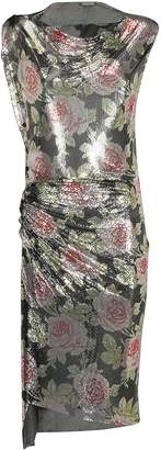 Paco Rabanne Asymmetric Floral Print Dress