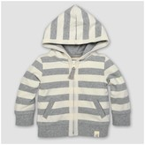 Burt's Bees Baby Toddler Boys' Striped French Terry Zip Hoodie - Heather Gray