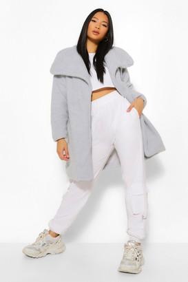 boohoo Petite Teddy Faux Fur Midi Coat