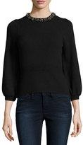 Rebecca Taylor Embellished 3/4-Sleeve Pullover, Black