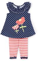Nannette Navy Dot Flower Tunic & Leggings - Infant Toddler & Girls