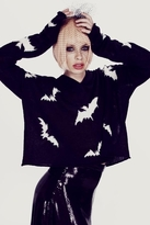Wildfox Couture Bats Hooded Billy Sweater in Clean Black