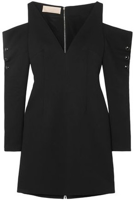 Antonio Berardi Cold-shoulder Snap-detailed Crepe Mini Dress