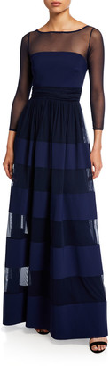 Chiara Boni Bateau-Neck Long-Sleeve Sheer-Yoke Striped Inset Gown