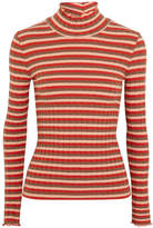 Madewell Ribbed Striped Stretch-cotton Jersey Turtleneck Top - Red