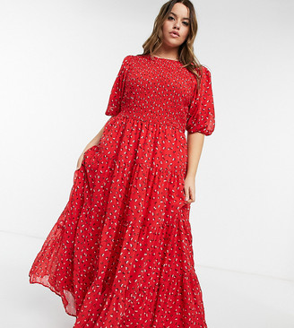 ASOS DESIGN Curve shirred tiered maxi dress in red print