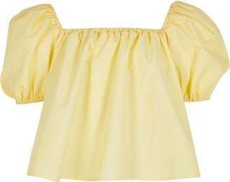 River Island Girls Yellow puff sleeve bardot top