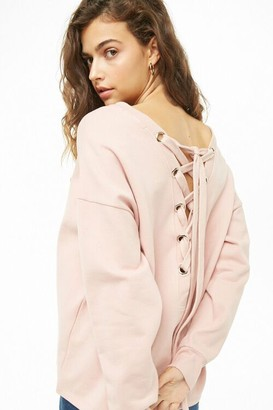 Forever 21 Lace-Up Sweatshirt