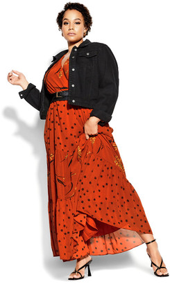 City Chic Turning Leaves Maxi Dress - rust