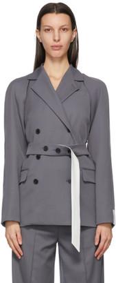 Rokh Grey Detachable Sleeve Belted Blazer