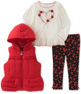 Kids Headquarters 3-Pc. Vest, T-Shirt and Denim Leggings Set, Little Girls (4-6X)