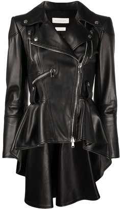 Alexander McQueen Flared Leather Biker Jacket