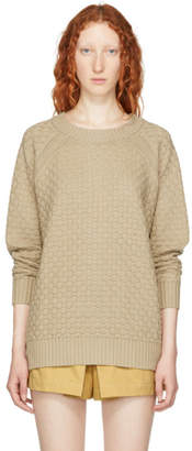See by Chloe Beige Bobble Stitch Back Button Sweater