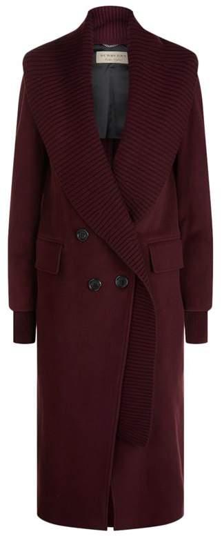 Burberry Ribbed Trim Cashmere Coat