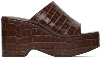 STAUD Brown Croc Lili Platform Sandals