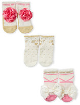 Juicy Couture Newborn/Infant Girls) 3-Pack Boxed Socks Set