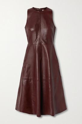 REMAIN Birger Christensen Portia Leather Midi Dress - Burgundy