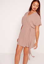 Missguided Plus Size Kimono Sleeve Wrap Dress Brown