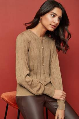 Next Womens Camel Pointelle Crew Cardigan - Brown