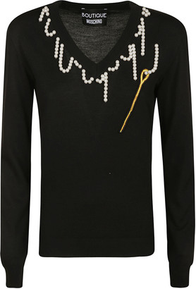 Moschino Pearl Collar Embellished Jumper